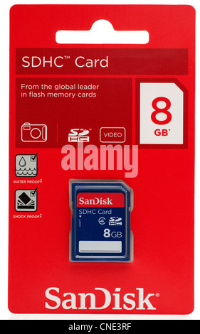 Sandisk 8GB SDHC 4 digital SD card - Stock Photo