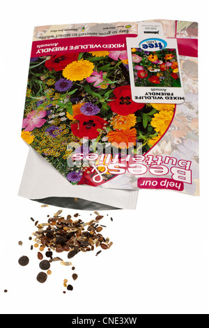 Packet of Johnsons mixed wildlife friendly hardy annual seeds - Stock Photo