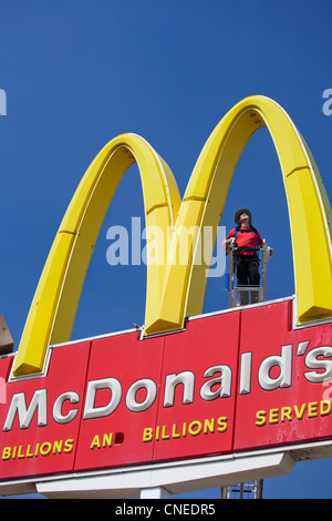 Worker at mcdonalds restaurant stock photo royalty free for Mcdonalds norwich ny