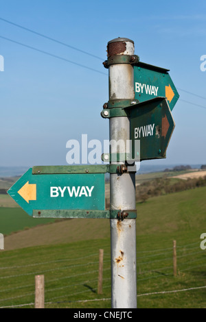 Byway signs on the Ridgeway National Trail pointing in three directions - Stock Photo