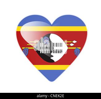 Swaziland 3D heart shaped flag - Stock Photo