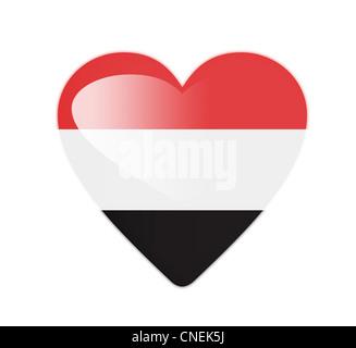 Yemen 3D heart shaped flag - Stock Photo