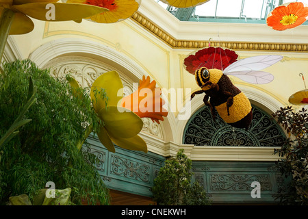 Inside the Bellagio Hotel and Casino, Conservatory, Gardens, Las Vegas - Stock Photo