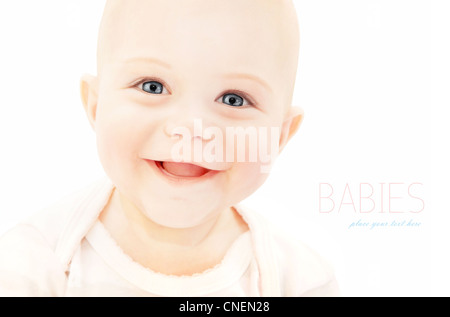 Happy baby laughing, closeup on cute little child face, healthy kid portrait isolated on white background, happiness - Stock Photo