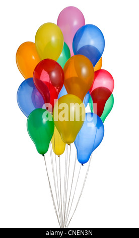 a bunch of colorful helium balloons with clipping path 2 - Stock Photo