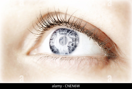 Beautiful abstract blue eye, female face part, healthy vision, extreme closeup - Stock Photo
