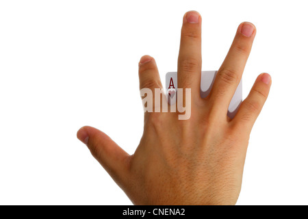 Ace of hearts behind fingers - Stock Photo