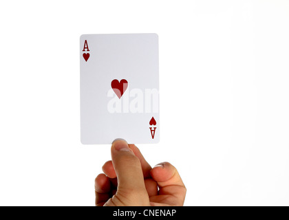Ace of hearts held in one finger - Stock Photo