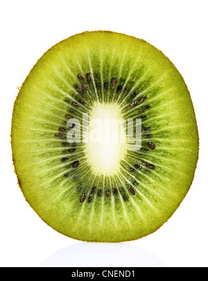 Kiwi Cross Section on White - Stock Photo