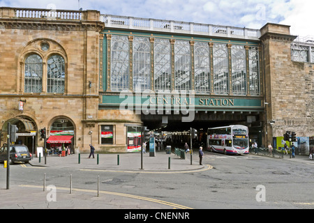 Glasgow Central railway Station spanning Argyle Street in Glasgow Scotland as seen from the west side of the station. - Stock Photo