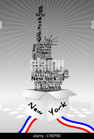 illustration of open box with statue of liberty Stock Photo