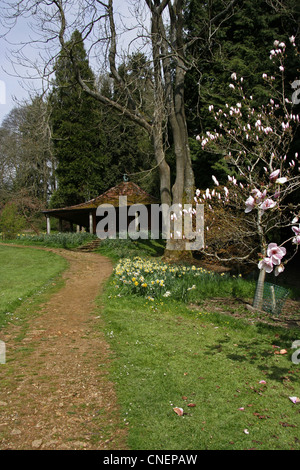 The Japanese Garden House in Springtime at Batsford Arboretum Gloucestershire - Stock Photo