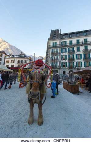Chamonix is a commune in the Haute-Savoie département in the Rhône-Alpes region in south-eastern France. - Stock Photo