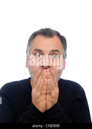 Portrait of a surprised middle-aged man with beard - Stock Photo