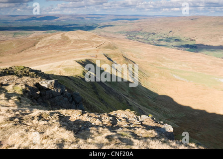 View from the Wild Boar Fell ridge in the Upper Eden Valley in Cumbria - Stock Photo