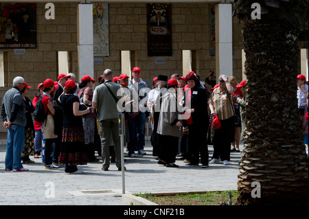 Pilgrims in the Basilica of the Annunciation ,Nazareth Israel - Stock Photo
