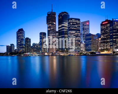 Brisbane cityscape at night - Stock Photo