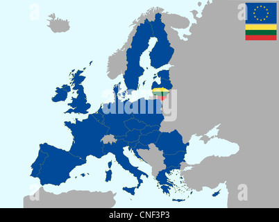 illustration of europe map with flag of lithuania, from 1 july 2013 - Stock Photo