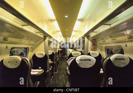 The interior of First Class aboard a Virgin Trains Class 390 Pendolino. - Stock Photo