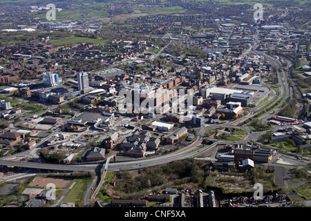 aerial view of Oldham town centre skyline - Stock Photo