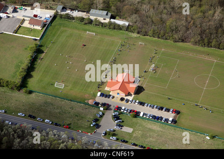 aerial view of Sunday morning football at Tibs Football Club, Thornaby, Stockton on Tees