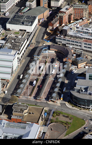 aerial view of Sheffield bus station interchange - Stock Photo
