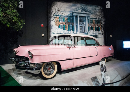 Elvis Presley's home and museum Graceland, car museum with Elvis 1956 Cadillac Eldorado - Stock Photo