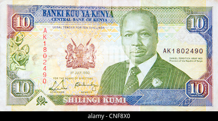 Kenya banknote 10 ten shillings - Stock Photo