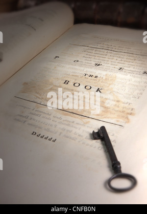 Power The Book (Poems On Several Occasions printed in 1718) we also see an ancient key - Stock Photo