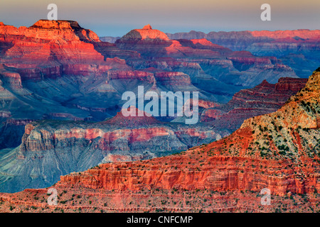 Sunset at Mother point, south rim, Grand Canyon National Park (Arizona, USA). HDR technique. - Stock Photo