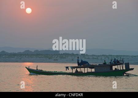 River scene - boat at sunset. Mandalay, Burma. Irrawaddy  River, Myanmar - Stock Photo