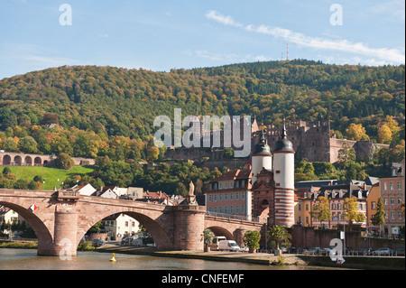 The Alte Brucke or Old Bridge and Neckar River in Old Town, Heidelberg, Germany. - Stock Photo