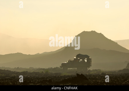 Off road vehicle in Tolbachik Volcano area, Kamchatka Peninsula, Russia - Stock Photo