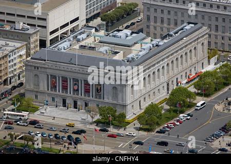 aerial photograph Asian Art Museum Civic Center San Francisco, California - Stock Photo