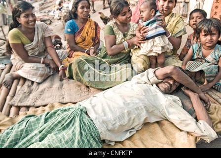 Family from the Kolkata slums - Stock Photo