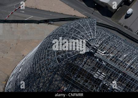 aerial photograph Hangar One, Moffett Field, Mountain View, California - Stock Photo