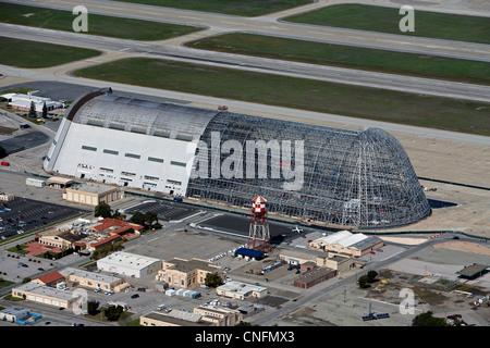 aerial photograph Hangar One Moffett Field, Mountain View, California - Stock Photo