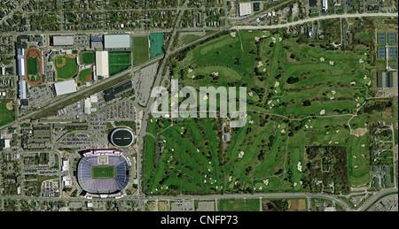 aerial photo map of University of Michigan Ann Arbor athletic facilities - Stock Photo