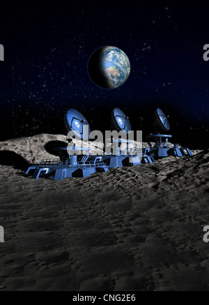 Lunar satellite array  artwork - Stock Photo
