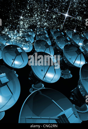 Satellite array  artwork - Stock Photo