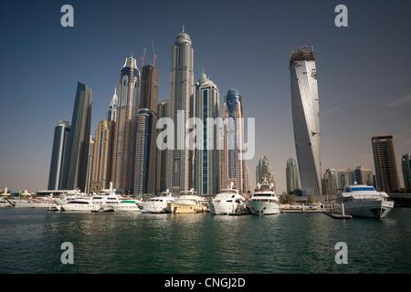 The skyscrapers of the 'Dubai Marina' area (Dubai - the United Arab Emirates UAE). Harbor. - Stock Photo