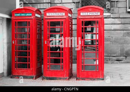 Three telephone boxes in Warrington town centre, Cheshire, England - Stock Photo