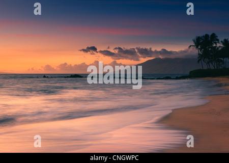 Sunset at Poolenalena Beach, Maui, Hawaii - Stock Photo