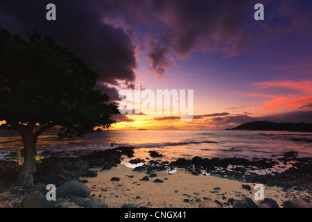 Sunset at Ahihi Kinau Natural Area Reserve, Maui, Hawaii - Stock Photo