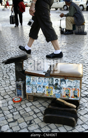 Shoe Shine Box belonging to a Sporting Lisbon Football Fan, Lisbon, Portugal - Stock Photo