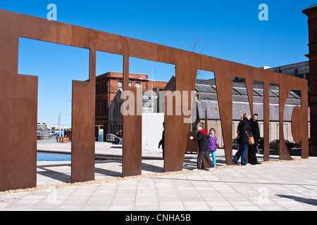 Metal sign outside the titanic museum Belfast - Stock Photo