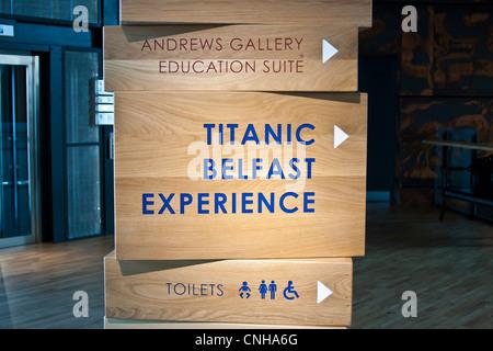 Sign in the Titanic Museum Belfast - Stock Photo