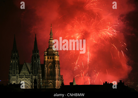 New Year Firework over St Vitus' Cathedral in Prague Castle in Prague, Czech Republic, on January 1, 2008. - Stock Photo