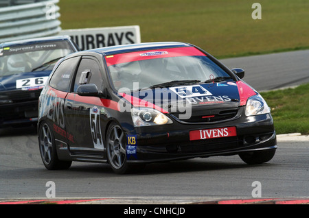 Motorsport action from the CSCC Tin Tops racing at Snetterton - pictured is a Honda Civic Type R - Stock Photo