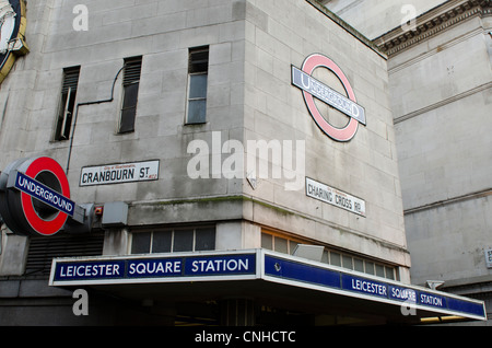 Leicester Square Tube station sign, corner Cranbourne street & Charing Cross Road, London Uk - Stock Photo